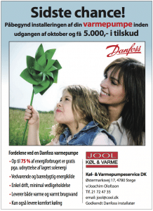 Danfoss varmepumpe med tilskud okt. 2012, Annonce